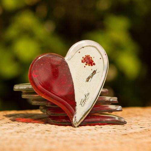 Red, White & Platinum Heart Coaster