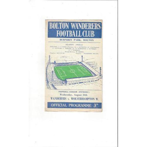 1960/61 Bolton Wanderers v Wolverhampton Wanderers Football Programme