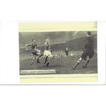 Tommy Lawton scores for Chelsea - Black & White Laminated Picture