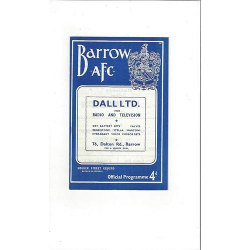 1961/62 Barrow v Southport Football Programme