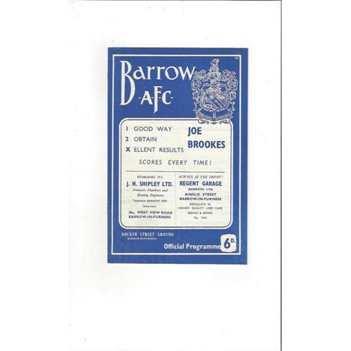 1963/64 Barrow v Southport Football Programme
