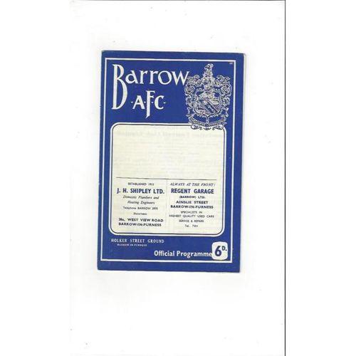 1964/65 Barrow v Southport Football Programme