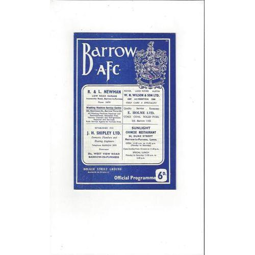 1965/66 Barrow v Southport Football Programme