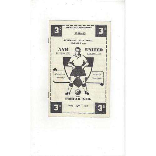 1962/63 Ayr United v Forfar Athletic Football Programme