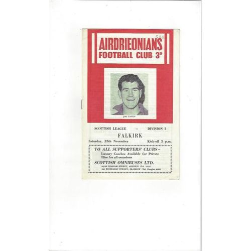 1961/62 Airdrieonians v Falkirk Football Programme