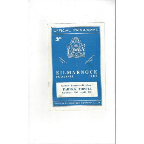 1960/61 Kilmarnock v Partick Thistle Football Programme