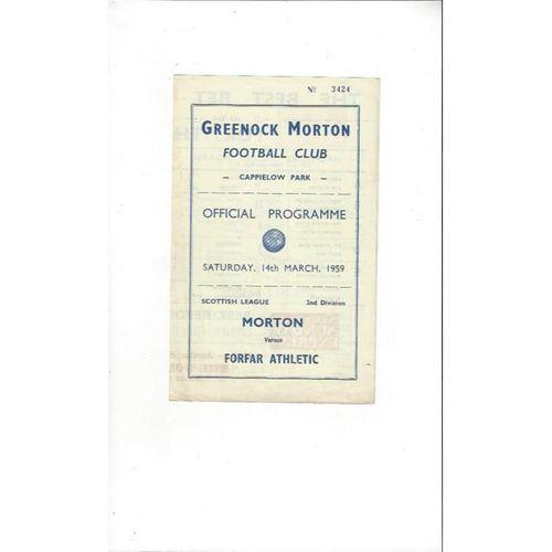 1958/59 Morton v Forfar Athletic Football Programme