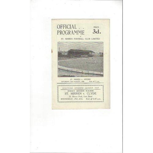 1958/59 St Mirren v Airdrie Football Programme