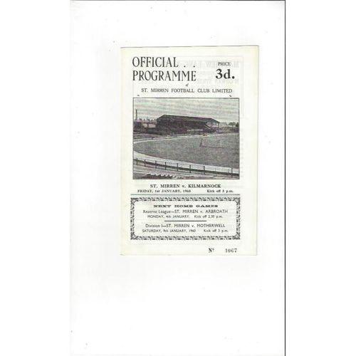 1959/60 St Mirren v Kilmarnock Football Programme