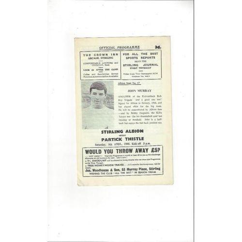 1965/66 Stirling Albion v Partick Thistle Football Programme