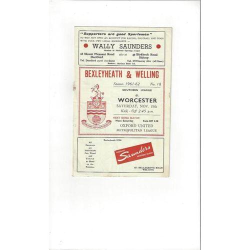 1961/62 Bexleyheath & Welling v Worcester Football Programme