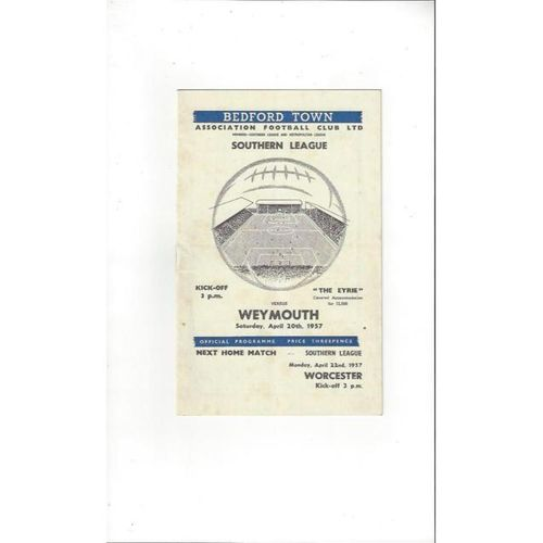 1956/57 Bedford Town v Weymouth Football Programme