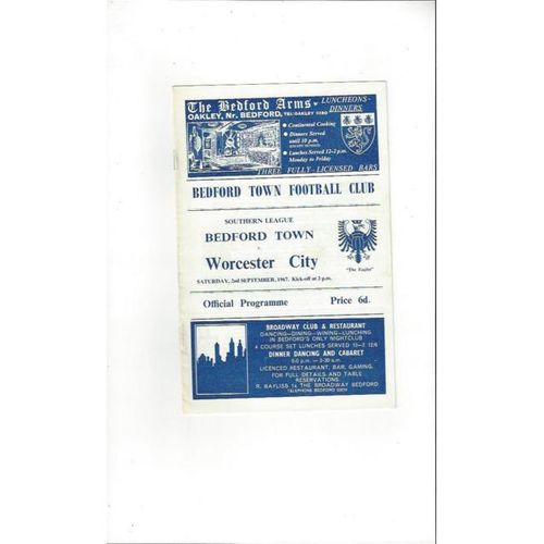 1967/68 Bedford Town v Worcester City Football Programme