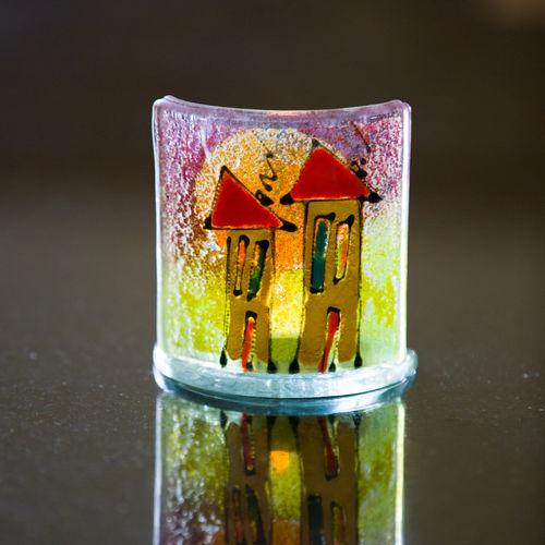 Happy Homes Purple/Green Tealight Holder (10cm x 10cm)