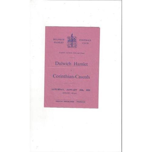 1950/51 Dulwich Hamlet v Corinthian Casuals Surrey Senior Cup Football Programme