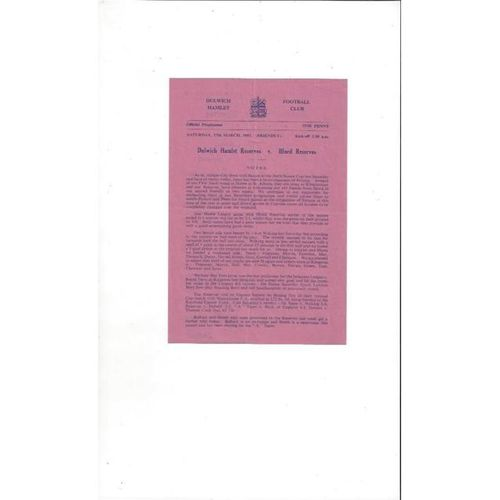 Dulwich Hamlet v Ilford Reserves Friendly Football Programme 1950/51