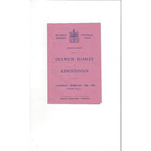 1950/51 Dulwich Hamlet v Kingstonian Football Programme