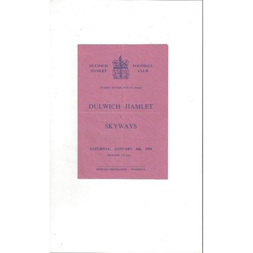 1950/51 Dulwich Hamlet v Skyways Surrey Senior Cup Football Programme