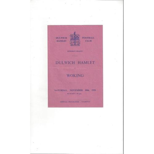 1950/51 Dulwich Hamlet v Woking Football Programme