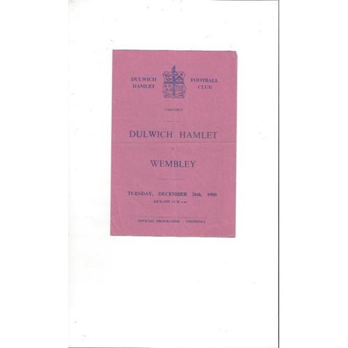 1950/51 Dulwich Hamlet v Wembley Friendly Football Programme