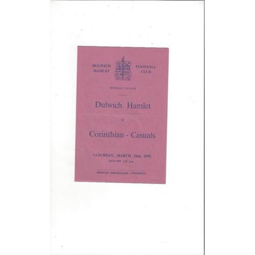 1951/52 Dulwich Hamlet v Corinthian Casuals Football Programme