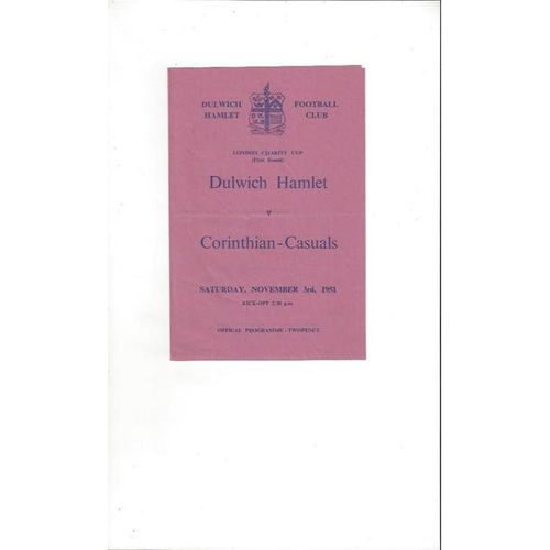 1951/52 Dulwich Hamlet v Corinthian Casuals London Charity Cup Football Programme
