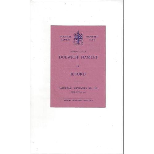 1951/52 Dulwich Hamlet v Ilford Football Programme