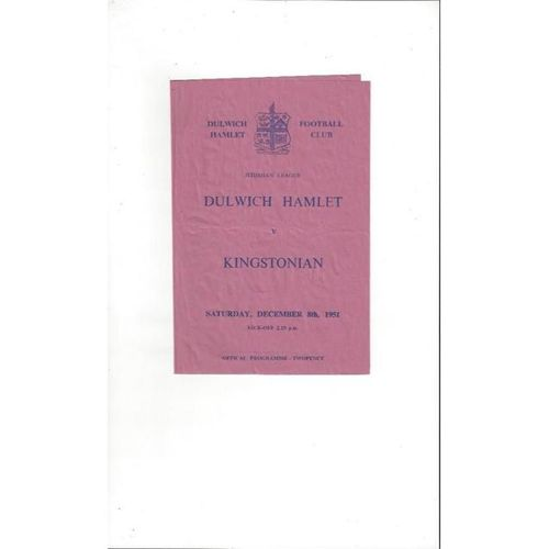 1951/52 Dulwich Hamlet v Kingstonian Football Programme