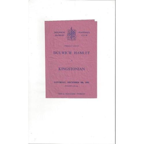 1951/52 Dulwich Hamlet v Kingstonian Football Programme