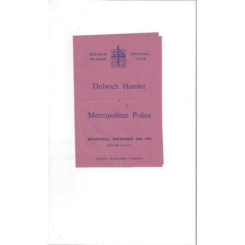 1951/52 Dulwich Hamlet v Metropolitan Police Football Programme