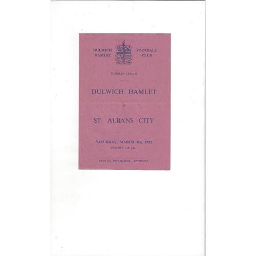 1951/52 Dulwich Hamlet v St Albans City Football Programme