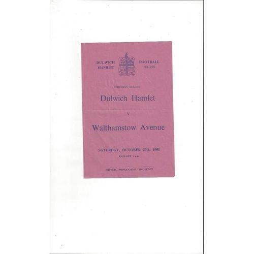 1951/52 Dulwich Hamlet v Walthamstow Avenue