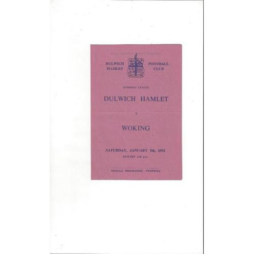 1951/52 Dulwich Hamlet v Woking Football Programme