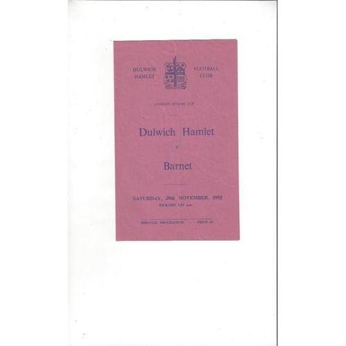 1952/53 Dulwich Hamlet v Barnet London Senior Cup Football Programme