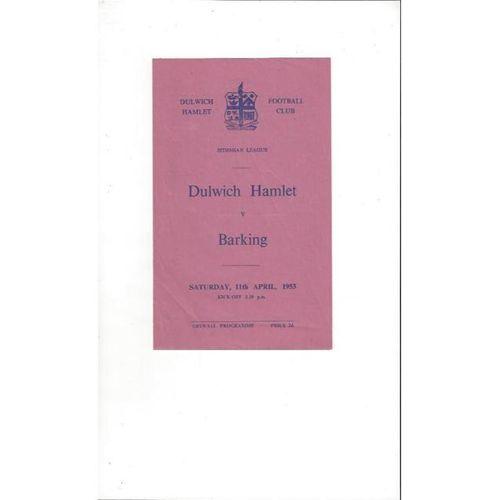 1952/53 Dulwich Hamlet v Barking Football Programme