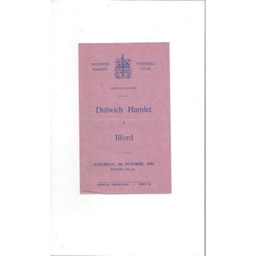 1952/53 Dulwich Hamlet v Ilford Football Programme