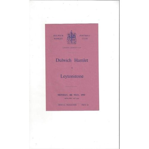 1952/53 Dulwich Hamlet v Leytonstone London Charity Cup Football Programme