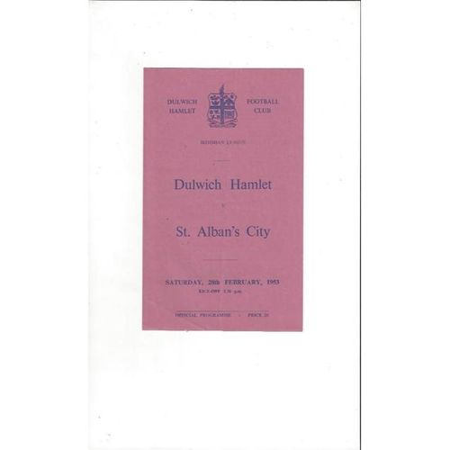 1952/53 Dulwich Hamlet v St Albans City Football Programme