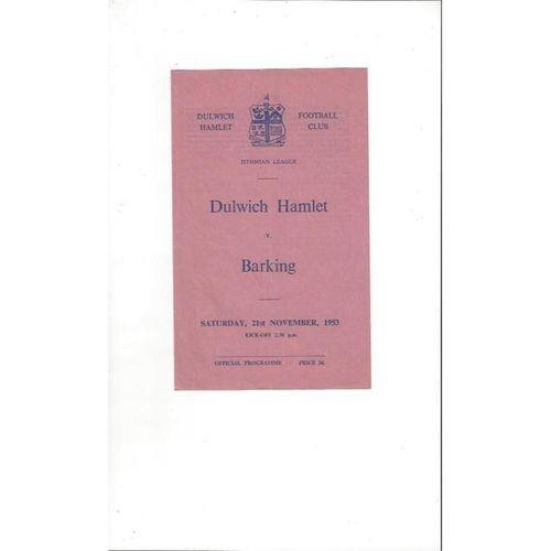 1953/54 Dulwich Hamlet v Barking Football Programme