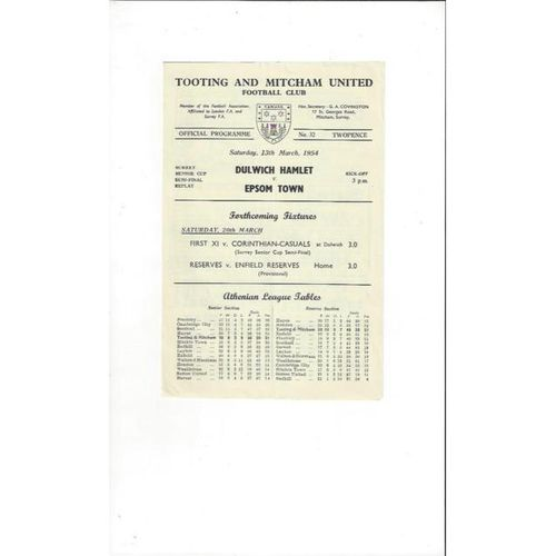 1953/54 Dulwich Hamlet v  Epsom Town Surrey Senior Cup Semi Final  Football Programme @Tooting