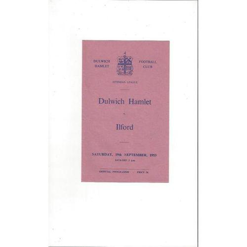 1953/54 Dulwich Hamlet v Ilford Football Programme