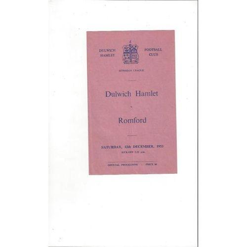 1953/54 Dulwich Hamlet v Romford Football Programme