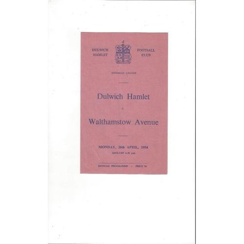 1953/54 Dulwich Hamlet v Walthamstow Avenue Football Programme