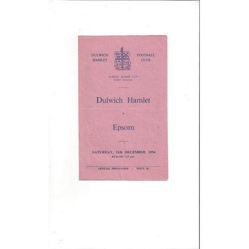 1954/55 Dulwich Hamlet v Epsom Surrey Senior Cup Football Programme