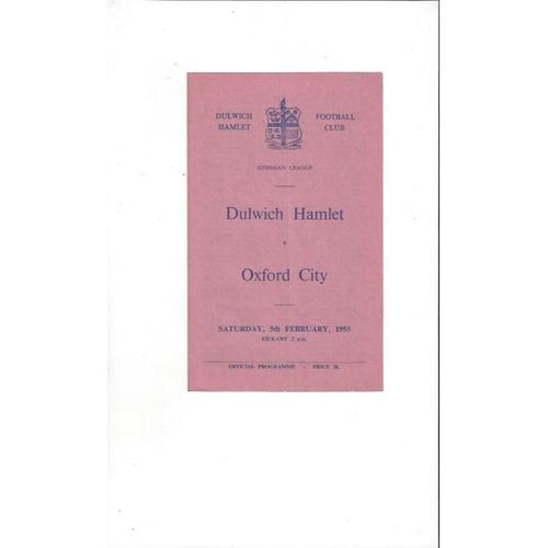 1954/55 Dulwich Hamlet v Oxford City Football Programme