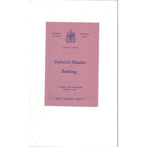 1955/56 Dulwich Hamlet v Barking Football Programme