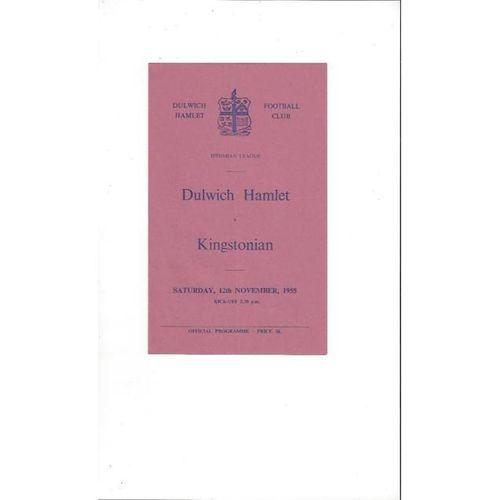 1955/56 Dulwich Hamlet v Kingstonian Football Programme
