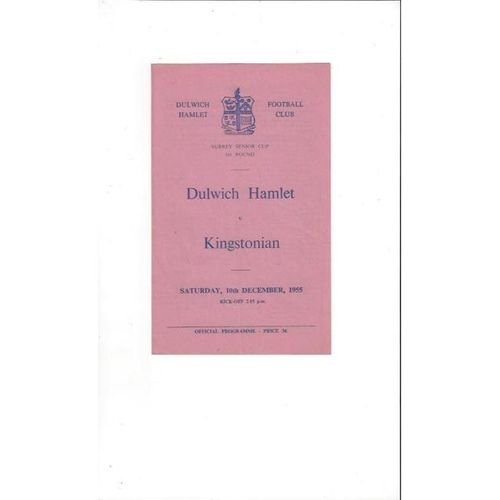 1955/56 Dulwich Hamlet v Kingstonian Surrey Senior Cup Football Programme