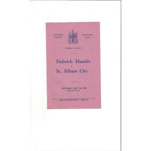 1955/56 Dulwich Hamlet v St Albans Football Programme
