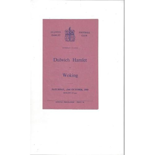 1955/56 Dulwich Hamlet v Woking Football Programme